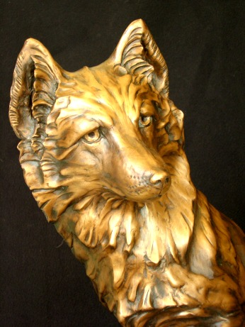 Bronze fox head sculpture