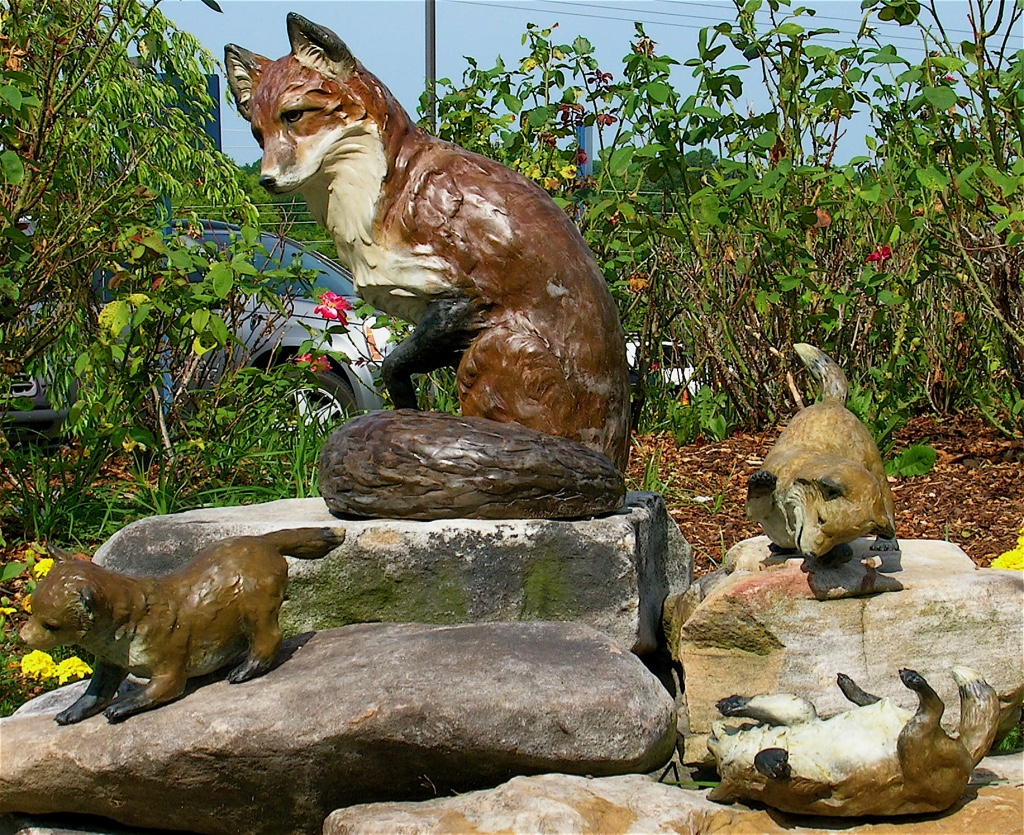 Fox family sculpture Maury Regional