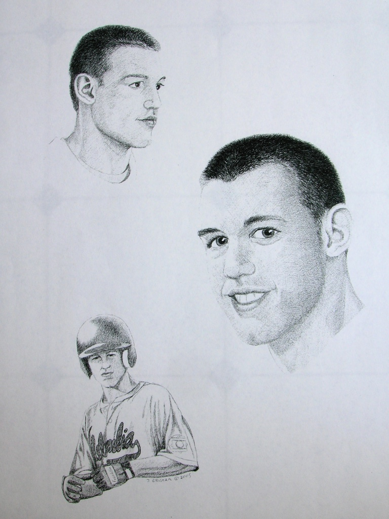 Baseball player portrait pencil