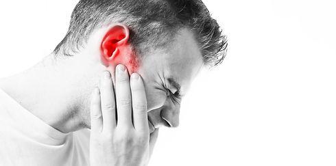 Tinnitus,  man on a white background hol