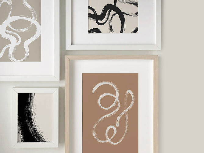Forma Collection Gallery Wall. Abstract Art prints by Melissa Selmin