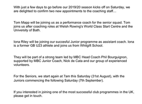 New Coaching Appointments For 2012020 Season