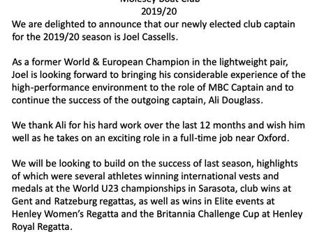 New Captain For 2019/20 Season