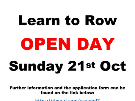 Learn To Row Open Day - Sunday 21st October