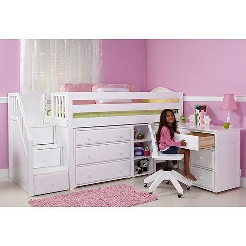 (低) 箱梯高架書桌床組 (含四抽屜書桌、三抽屜衣櫥及小三層書架)