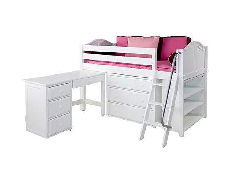 (低) 扶梯高架書桌床組 (含四抽屜書桌、三抽屜衣櫥及三層書架)