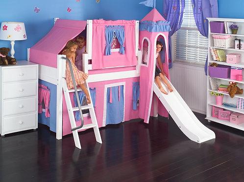 (低) 扶梯、滑梯高架全套配件床組 (含帳棚、塔樓及床下遮簾