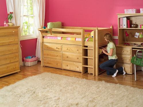 (低) 直梯高架含櫃床組 (含兩座三抽屜衣櫥及三層書架)