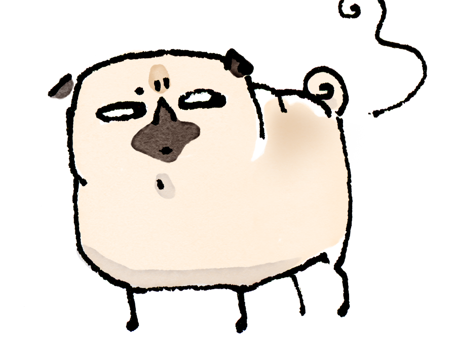 Pug Poses Suspicious Fart PNG.png