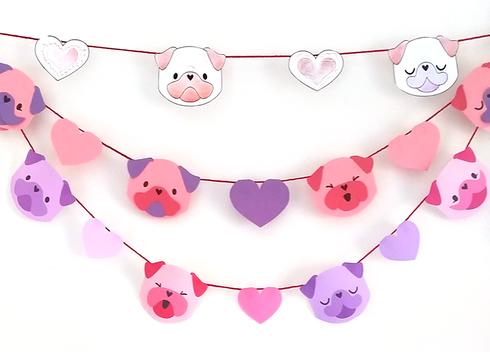 Valentine Pugs Garland