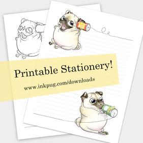 Printable Pug Stationery
