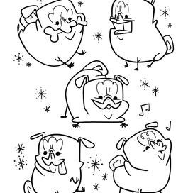 Retro-Future Pugs coloring page
