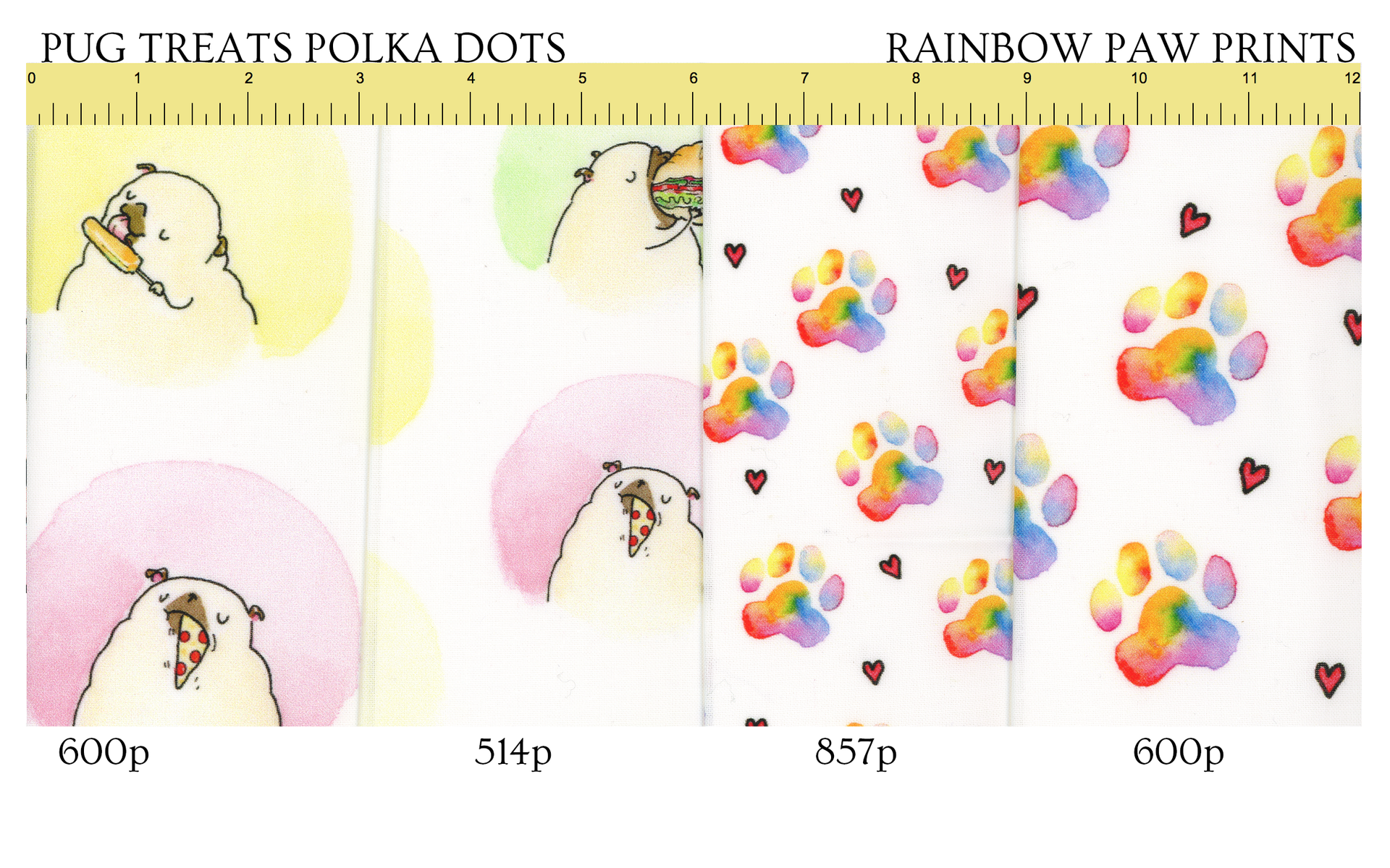 Follow this link to get Pug Treats/Rainbow Pawprints patterns on Spoonflower!