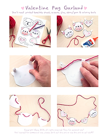 Pug Garland Cut and Paste Instructions