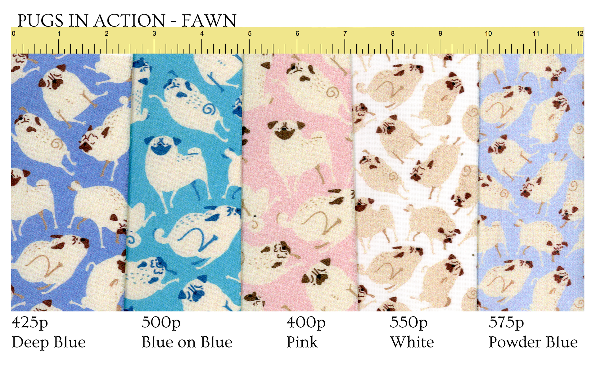 Follow this link to get Pugs in Action (fawn) patterns on Spoonflower!