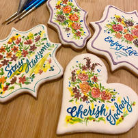 Cookies with royal icing floral decoration