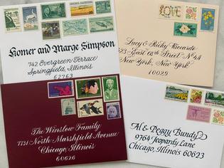 Sample envelope addressing with vintage stamps