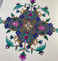 Hand-drawn Persian illumination (gouache on watercolor paper)