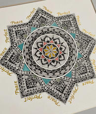 Mandala drawing with Bister inks