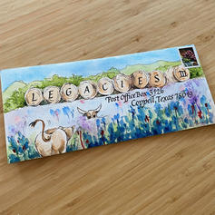Winning entry for Texas-themed envelope contest at Legacies III (39th International Lettering Arts Conference)