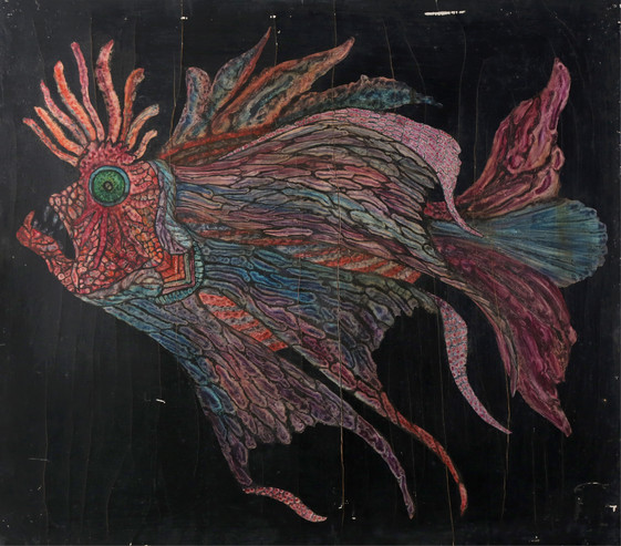 064 Pez de la profundidad rosado oleo s