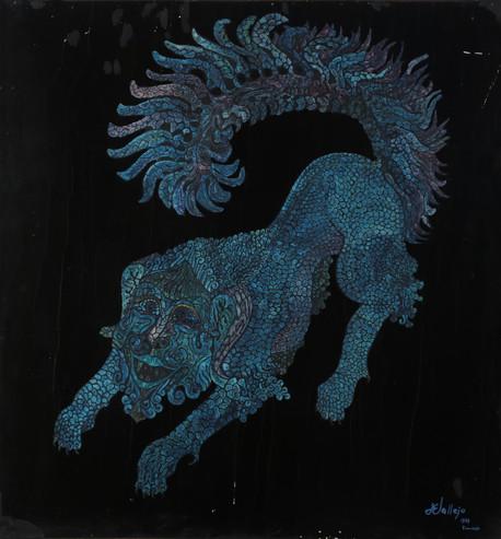 060 Dragon azul I oleo s madera 80x45 19