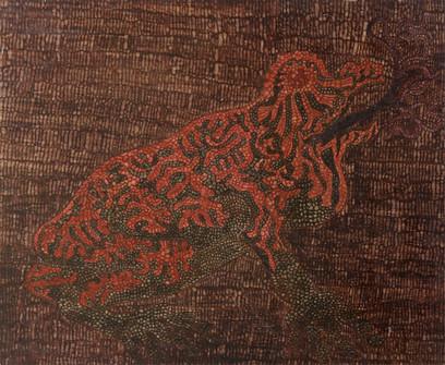 071 Sapito Rojo oleo s madera 43x55 1973