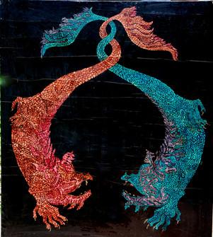 067 Dos Dragones mitologicos oleo s made