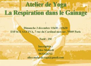 Atelier de Yoga - La Respiration dans le Gainage - dimanche 3 décembre 2017