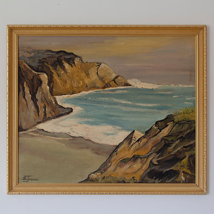 Vintage Beach Seascape Painting