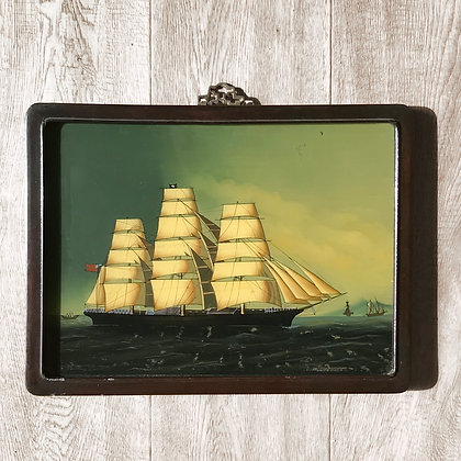 Original French Reverse Glass Ship Painting