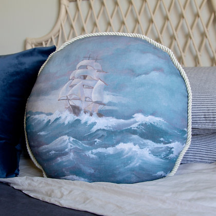 Clipper Ship Round Cushion