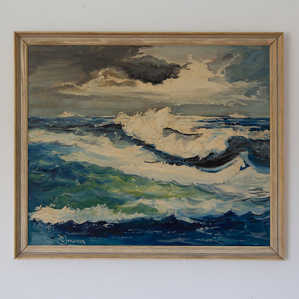 Vintage Oil Ocean Seascape