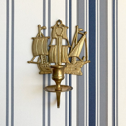 Brass Ship Candle Sconce
