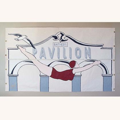 Diving Girl Handpainted Banner 3