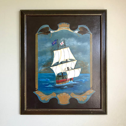 Vintage Mayflower Ship Painting