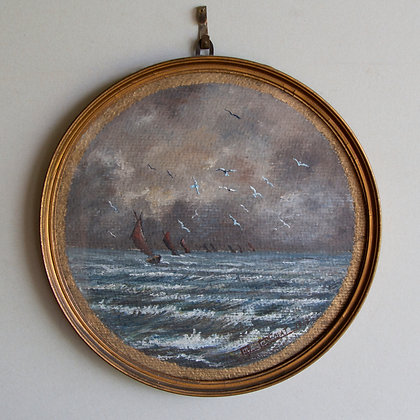 Vintage French Round Seascape