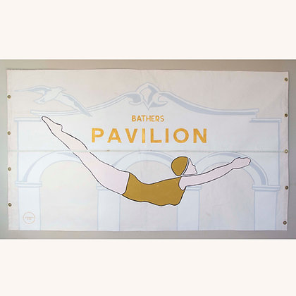Diving Girl Handpainted Banner 2