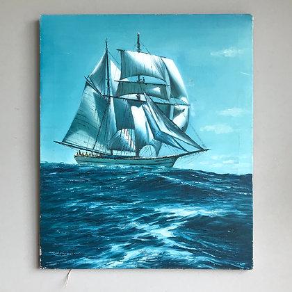 Vintage Sailboat Painting