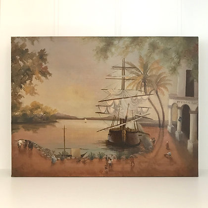 Vintage Harbour - Oil Painting