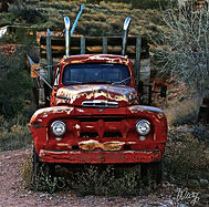 old red ford truck art by Weezy
