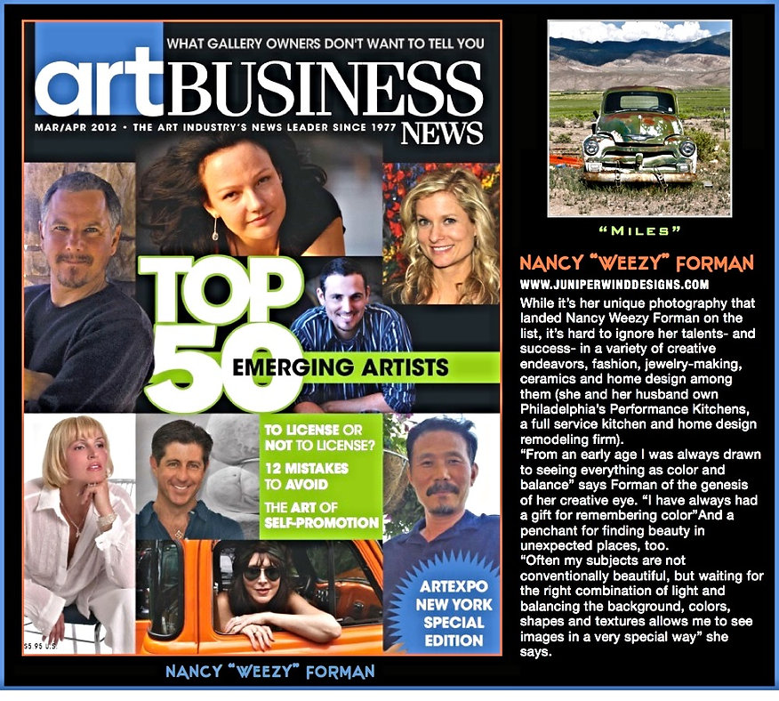 nancy weezy forman on the cover of Art business news