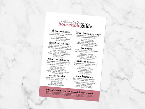 Natural Cleaning Household Guide Card Printable