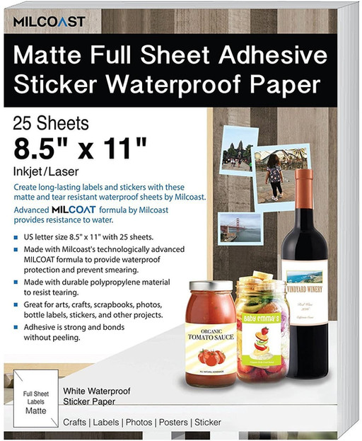 Full Sheet Matte Label Paper