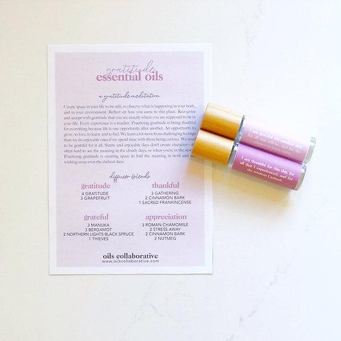 Gratitude Diffuser Blends, Meditation, and Roller Labels Digital Printable