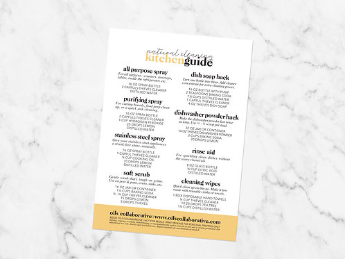 Natural Cleaning Kitchen Guide Printable