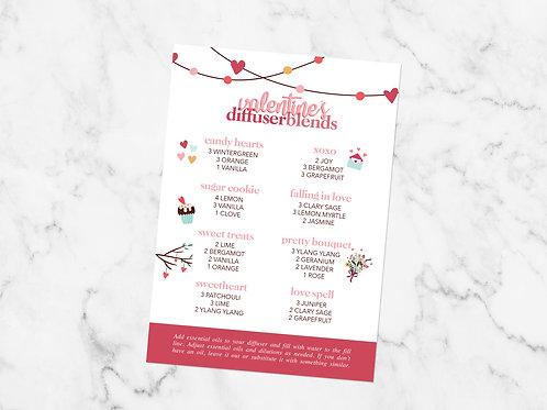Valentine's Diffuser Blends Card Printable File