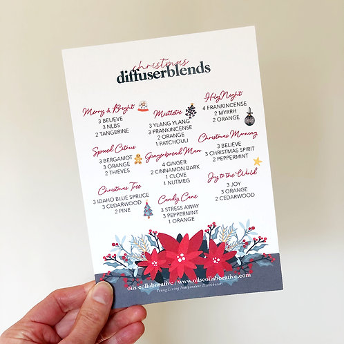 Christmas Diffuser Blends Card Printable File