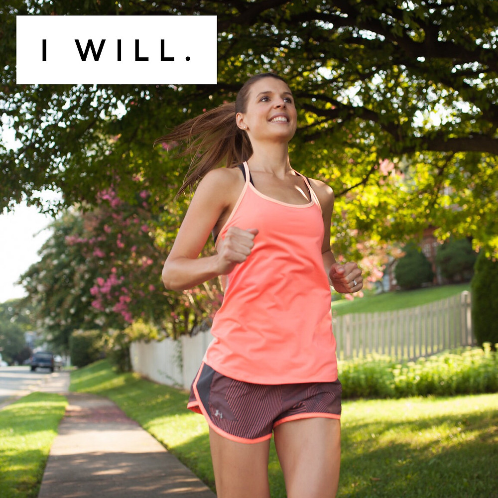 Woman running confidently
