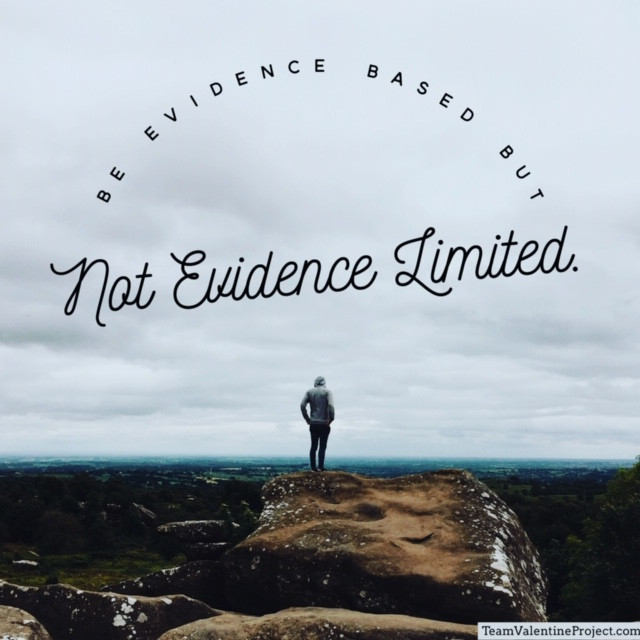 "Athlete looking out into nature, ""Be evidence based but not evidence limited."""